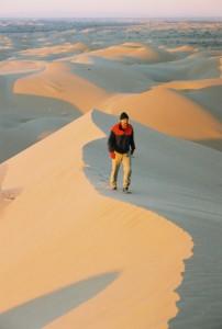 Sand dune hiker Gran Desierto de Altar Mexico