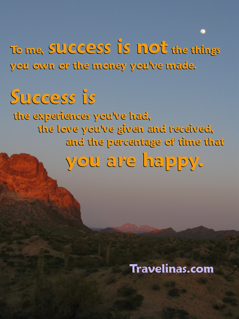 success saying on desert moon photo