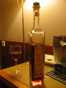 bottle of ginjinha liqueur
