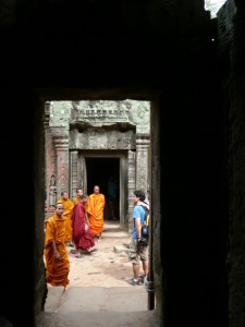 Monks in Cambodia's Ta Prohm
