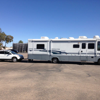 RV and car ready for fulltime RVing