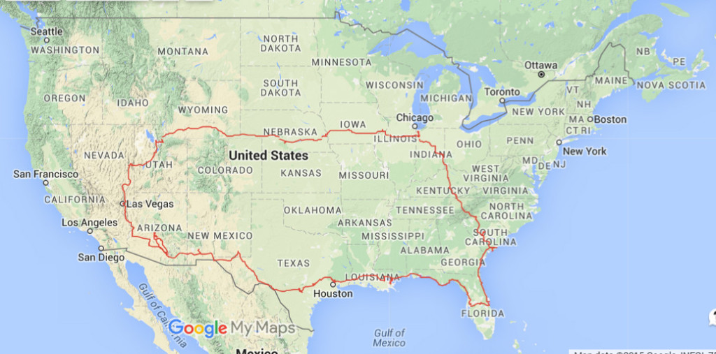 Travelinas route across US