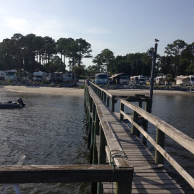 One evening we watched sharks circle this pier at Ho Hum RV Park in Carrabelle