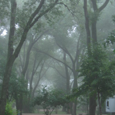 Morning mist at Johnson Lake campground, Nebraska