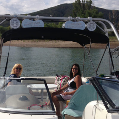 Reconnecting with friends in Utah at Pineview Reservoir, with Diane Phister-Allen