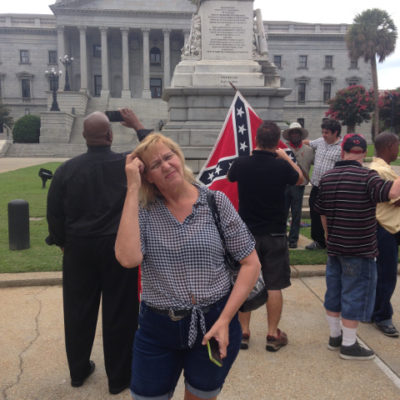 At the South Carolina State House in Columbia, during the Confederate Flag protests. We are strangers in a strange land