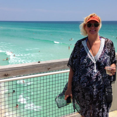 Julie celebrated Mother's Day with a wine and view of dolphins feeding at Navarre Beach