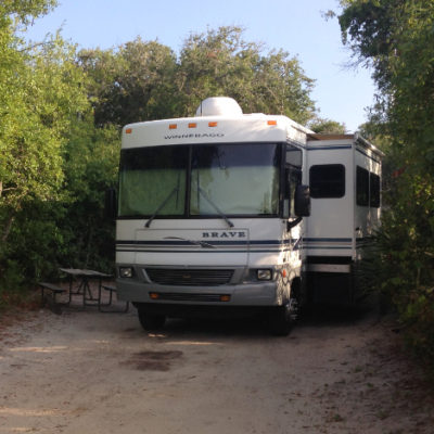 "Our Winnebago Brave, now known as ""The Toaster"" in North Beach Camp near St. Augustine."
