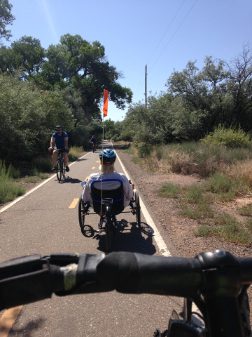Cycling along Paseo del Bosque bike path, Albuquerque