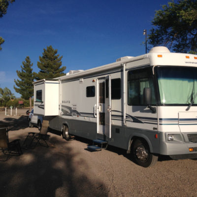 Rattled by wind, ready to rest in Carrizozo, New Mexico
