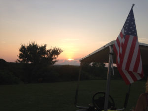 Oklahoma sunset with American flag