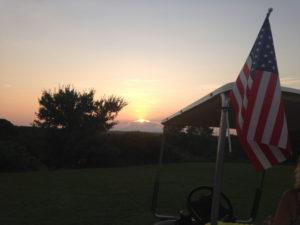 Oklahoma sunset with American flag