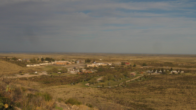 Looking out over White's City RV Park and the start of the Texas plains