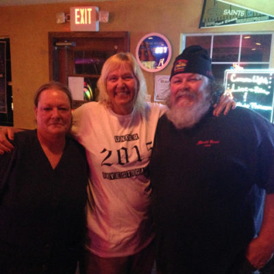 At the Copperhead Road bar, this couple gifted Julie a t-shirt from Louisiana's first motorcycle club