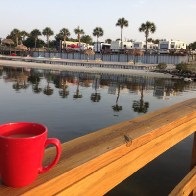 We lucked out getting this (expensive) beach front spot at Emerald Beach RV park in Navarre
