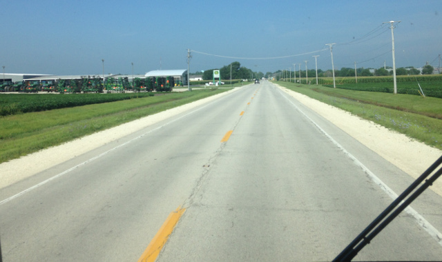 We zigzagged through Illinois farm roads, no longer hemmed in by the trees of the east.