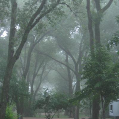 Morning mist at Johnson Lake campground, Nebraska