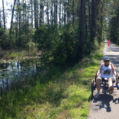 Riding through swamps, Tammany Trace Trail in Slidell