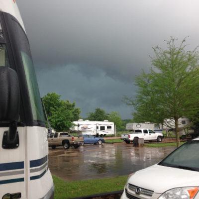 Big thunderstorm at Colorado Landing RV Park, La Grange