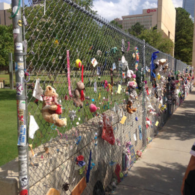 People are still leaving notes and stuffed animals at the Oklahoma City bombing site