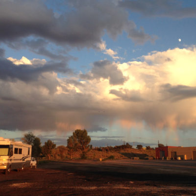 Truck stop night under Gallup, New Mexico skies
