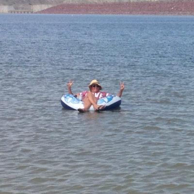 Julie enjoying a float
