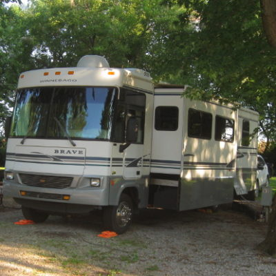 Our nice, shady site for a month while waiting for the eclipse