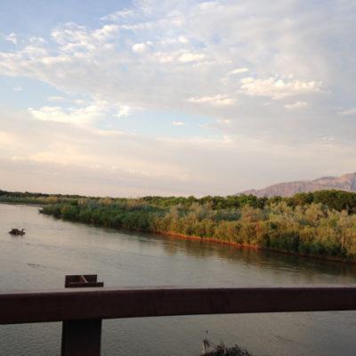 Rio Grande and the Sandia mountain range